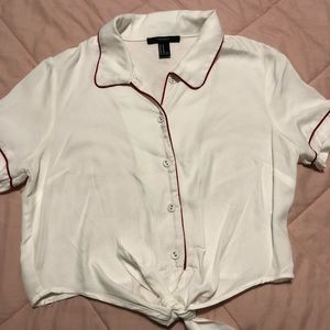 Forever 21 white with red, tie front cropped shirt
